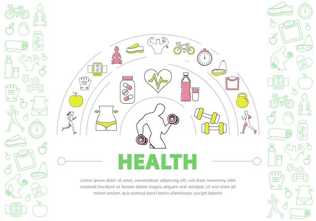 Hintergrundvorlage für einen gesunden lebensstil Kostenlosen Vektoren
