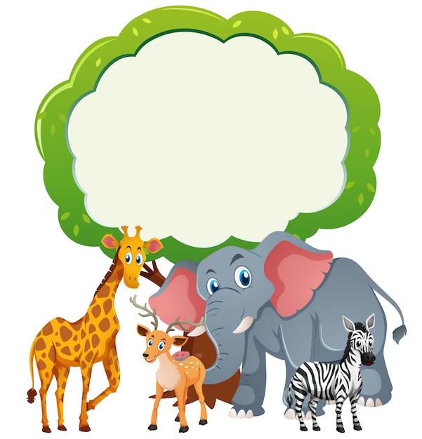 Hintergrundvorlage mit wilden tieren Kostenlosen Vektoren