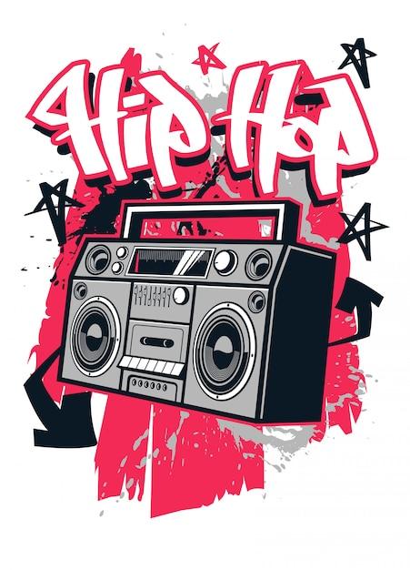 Hip hop-art-t-shirt entwurf Premium Vektoren