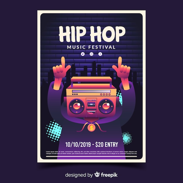 Hip-hop-festivalplakat mit steigungsillustration Kostenlosen Vektoren