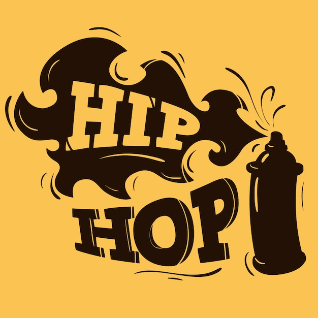 Hip hop label design mit einer spray ballon silhouette. Premium Vektoren