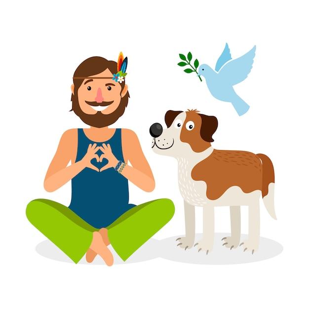 Hippie-friedensmann mit hund und taube Premium Vektoren