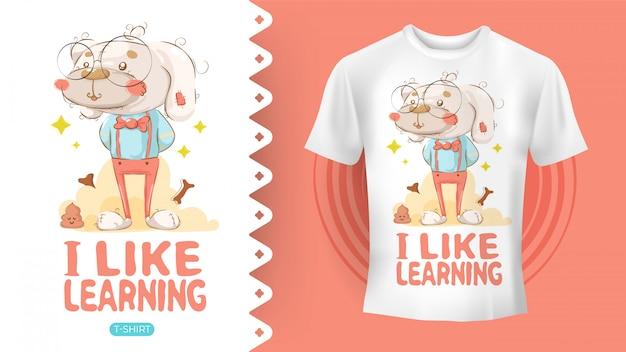 Hippie-hund, der perfekte idee für hemd zeichnet Premium Vektoren