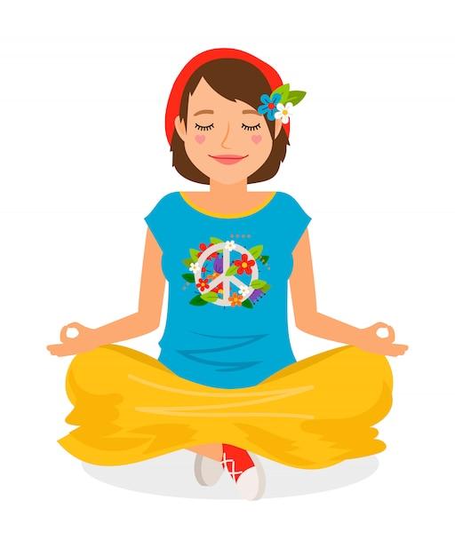 Hippie-mädchen-yoga-meditationsvektorillustration auf weiß Premium Vektoren