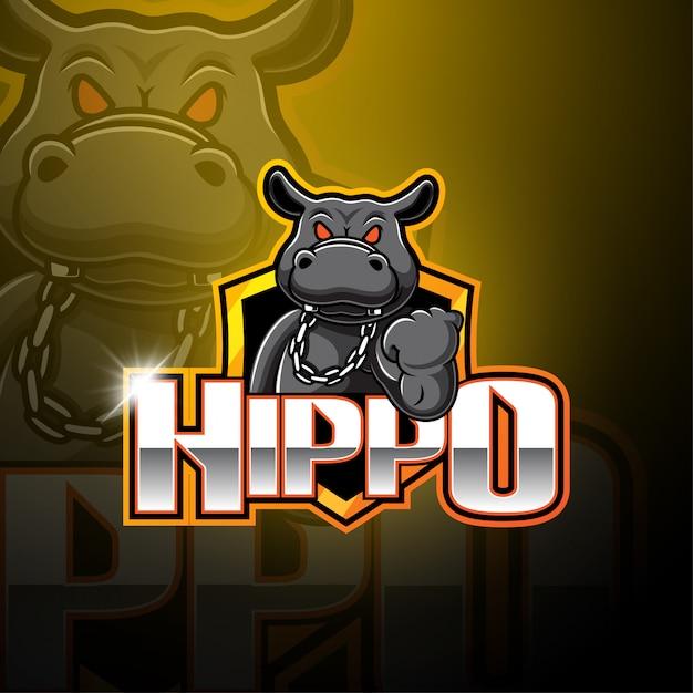 Hippo esport maskottchen logo Premium Vektoren