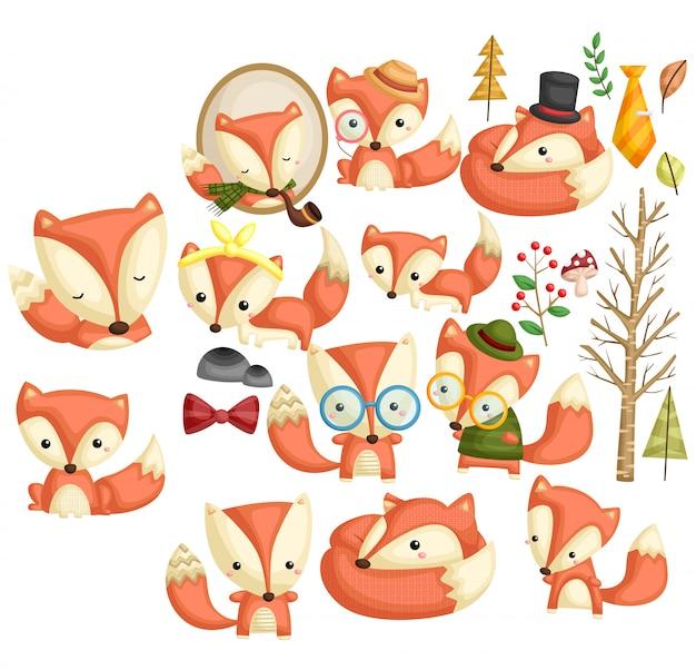 Hipster fox image set Premium Vektoren