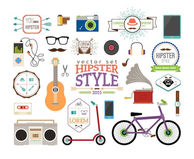 Hipster infografiken elemente und etiketten. roller und spieler, tube und platte, gitarre und band, uhren und fahrrad. Kostenlosen Vektoren