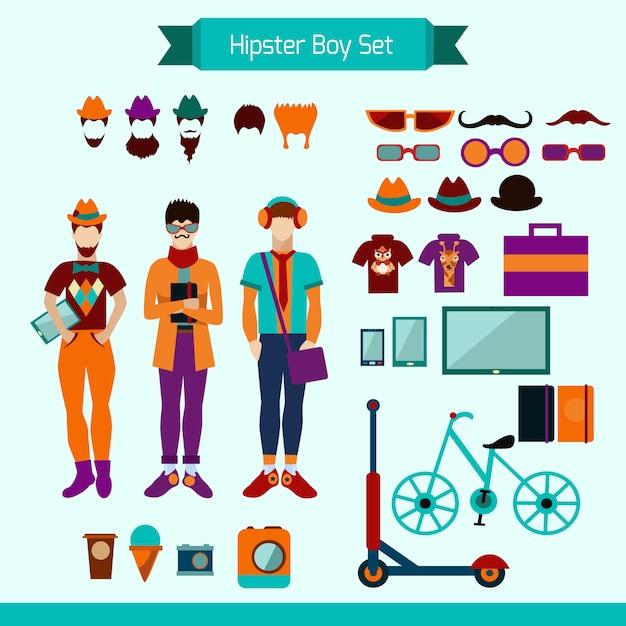 Hipster-jungen-set Kostenlosen Vektoren