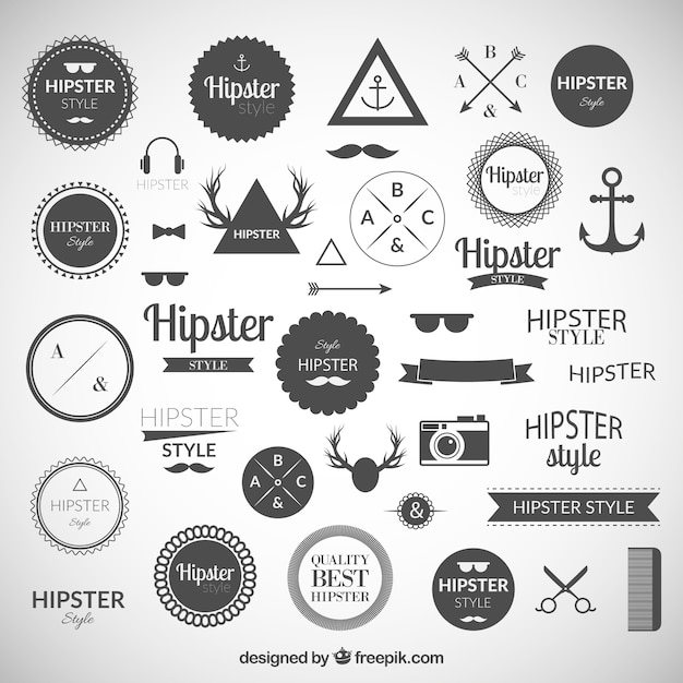 hipster logos sammlung download der kostenlosen vektor. Black Bedroom Furniture Sets. Home Design Ideas