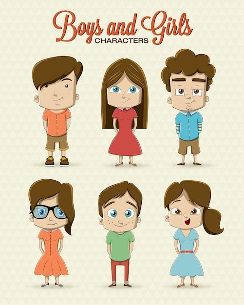 Hipster Mädchen und Jungen Charakter-Design Kostenlose Vektoren