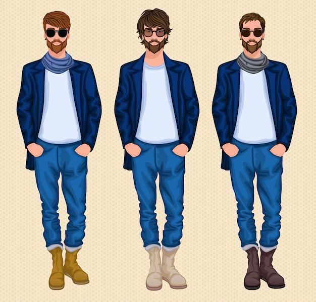 Hipster mann zeichensatz Premium Vektoren