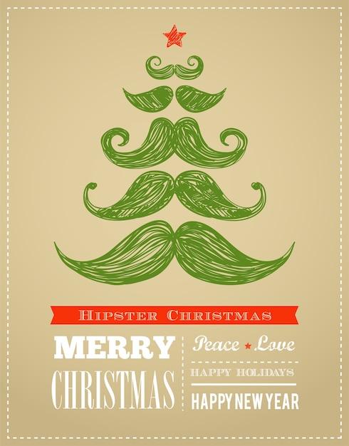 Hipster neujahr und frohe weihnachten, vektorillustration Premium Vektoren