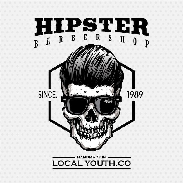 Hipster schädel friseur logo in schwarz und weiß Premium Vektoren