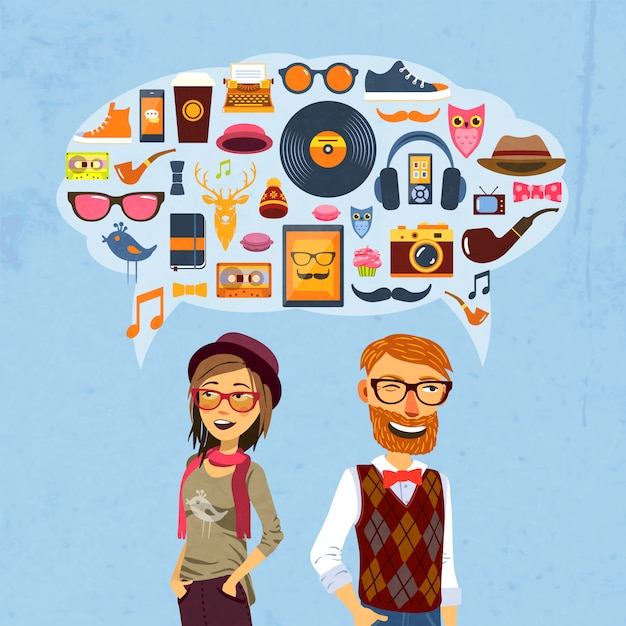 Hipster-sprechblase Kostenlosen Vektoren