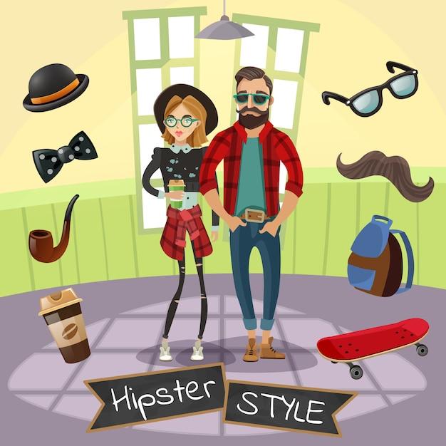 Hipster-subkultur-illustration Kostenlosen Vektoren