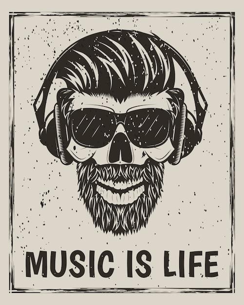 Hipster totenkopf in gläsern mit schnurrbart und bart musik hören Premium Vektoren