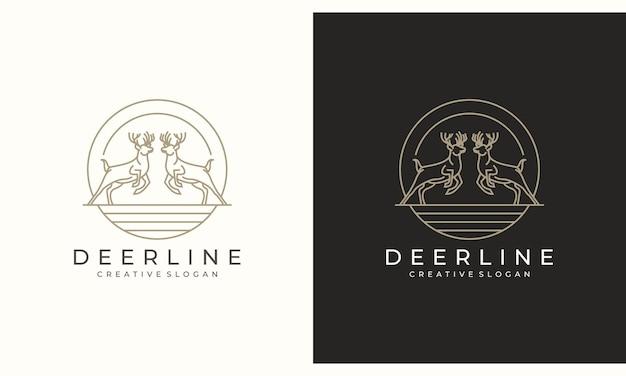 Hirsch antilope hirsch minimalist kreatives logo design Premium Vektoren