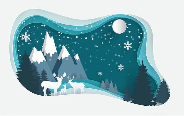Hirsch im winterwald mit papierkunstentwürfen. Premium Vektoren