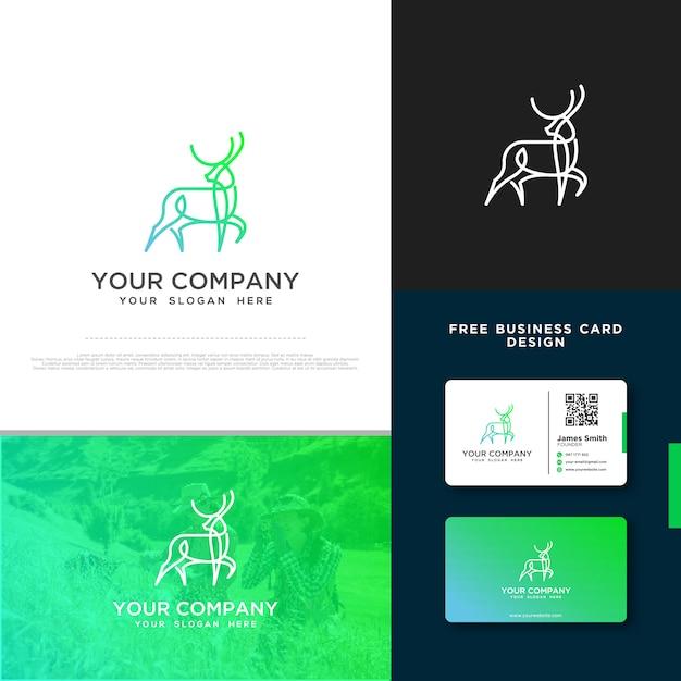 Hirsch-logo mit gratis-visitenkarte Premium Vektoren