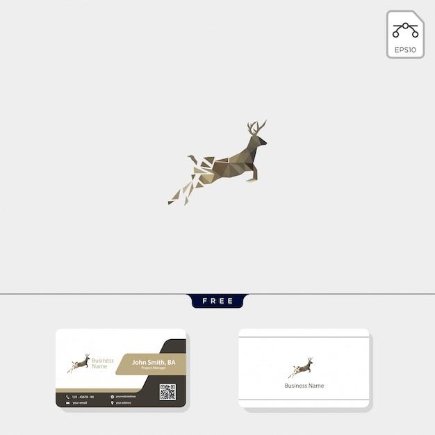 Hirsch logo und visitenkarte design Premium Vektoren
