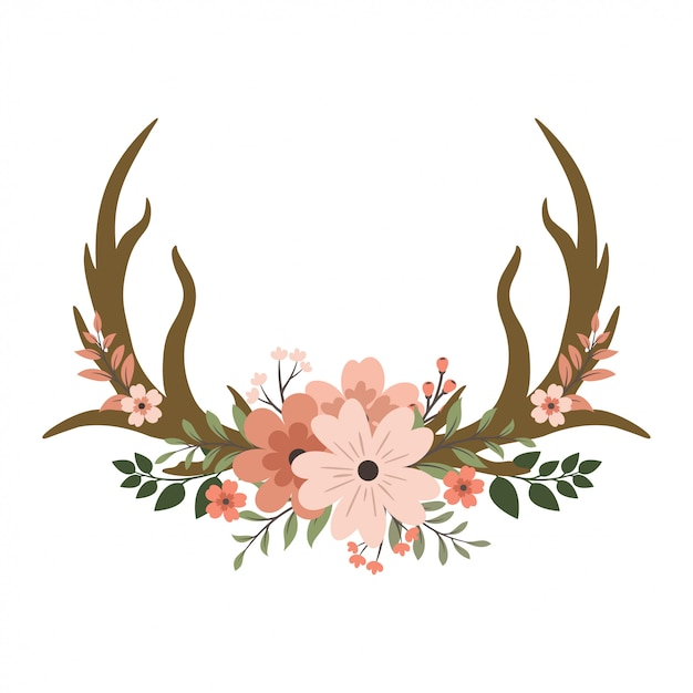 Hirschgeweih floral Premium Vektoren