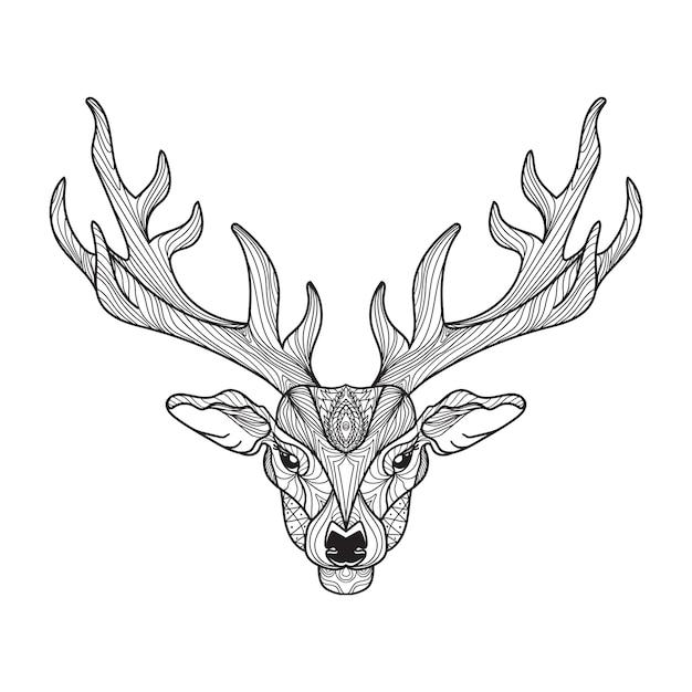 Hirschkopf mit hörnern für t-shirt, tattoo, print, stoff, poster und illustrationen. vektor Premium Vektoren