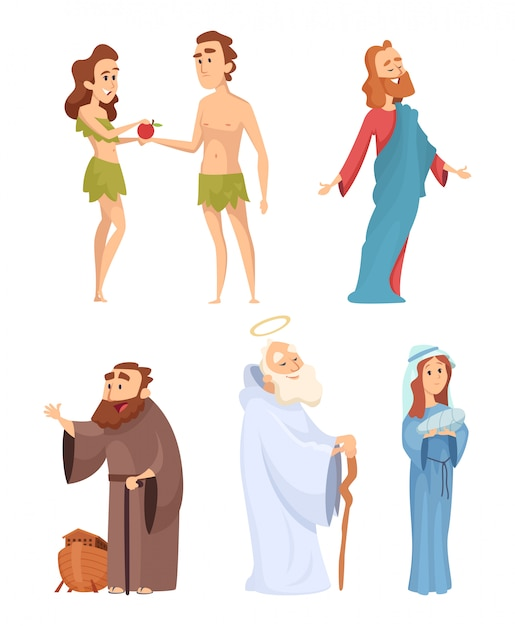 Historische figuren der bibel. Premium Vektoren