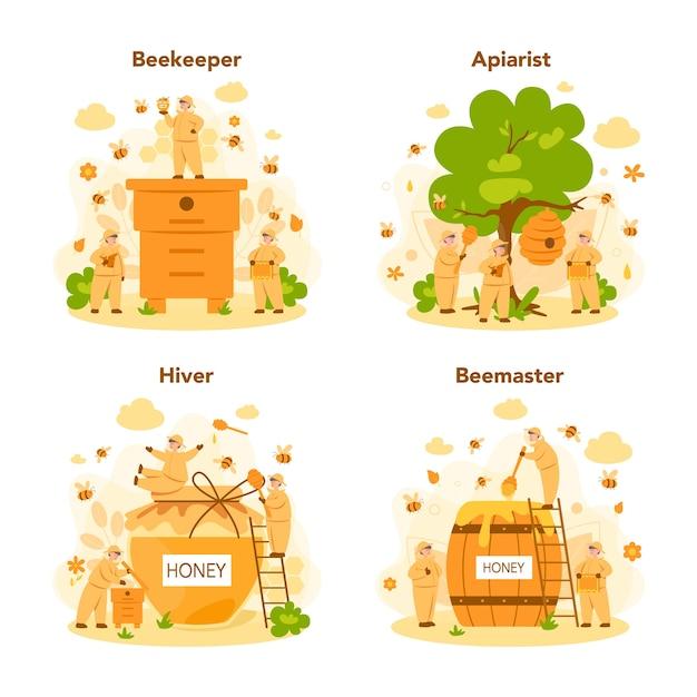 Hiver- oder imker-konzeptset. professioneller bauer mit bienenstock und honig. land bio-produkt. bienenhaus, imkerei und honigproduktion. Premium Vektoren