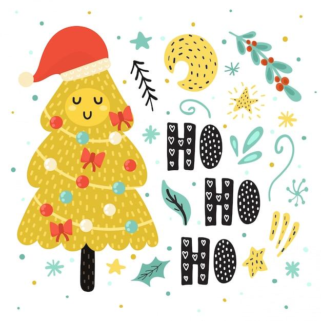 Ho ho ho karte mit einem niedlichen weihnachtsbaum in der weihnachtsmannmütze Premium Vektoren