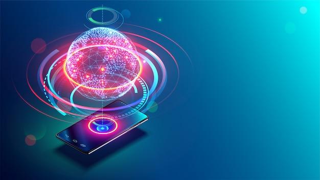 Hochgeschwindigkeitskommunikation mit dem world wide web von überall auf der welt über das mobile telefoninternet Premium Vektoren
