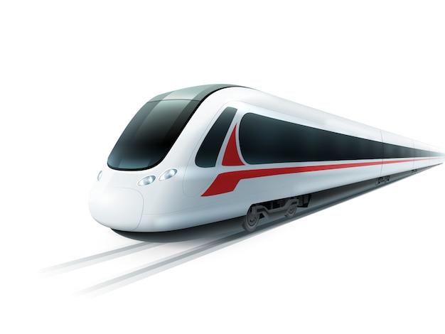 Hochgeschwindigkeitszug-realistisches lokalisiertes bild Premium Vektoren