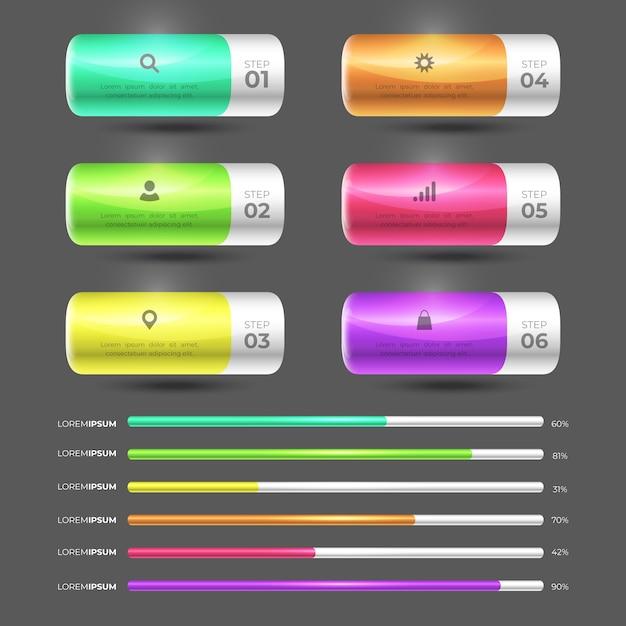 Hochglanz-infografik-sammlungskonzept 3d Kostenlosen Vektoren
