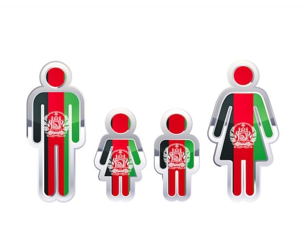 Hochglanzmetallabzeichenikone in mann-, frauen- und kinderformen mit afghanistan-flagge, infografikelement auf weiß Premium Vektoren