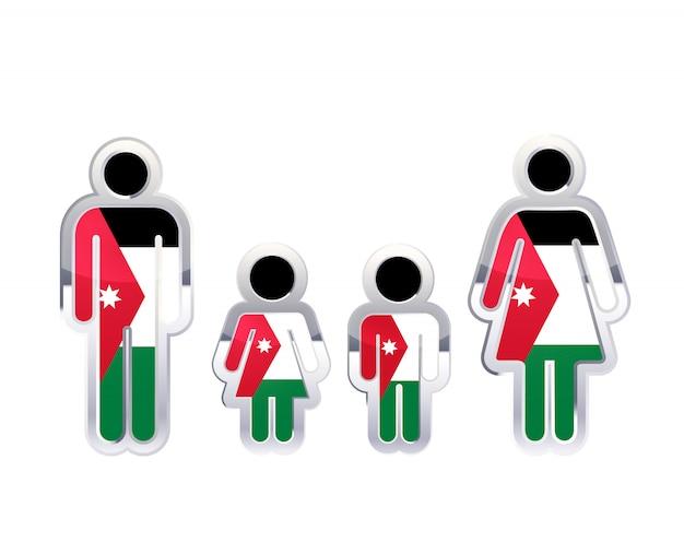 Hochglanzmetallabzeichenikone in mann-, frauen- und kinderformen mit jordanienflagge, infografikelement auf weiß Premium Vektoren