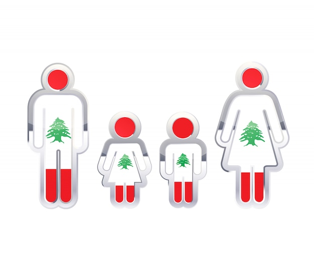 Hochglanzmetallabzeichenikone in mann-, frauen- und kinderformen mit libanon-flagge, infografikelement auf weiß Premium Vektoren