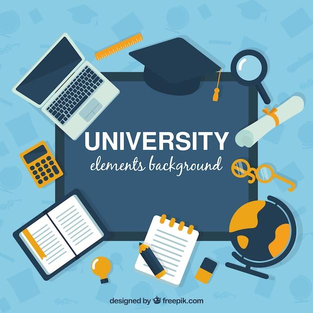 Hochschulelementhintergrund in der flachen art Kostenlosen Vektoren