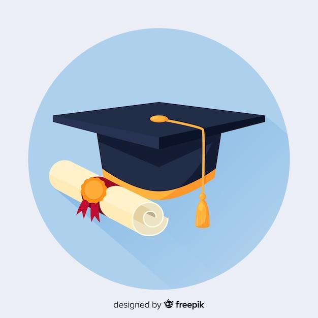 Hochschulhintergrund mit doktorhut Kostenlosen Vektoren