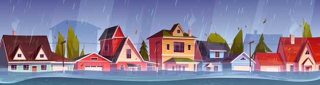 Hochwasser in der stadt, flusswasserstrom fließt an der stadtstraße mit häuschen. naturkatastrophe mit regen und sturm auf dem land mit überfluteten gebäuden, klimawandel. karikaturvektorillustration Kostenlosen Vektoren
