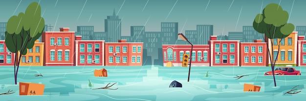 Hochwasser in stadt, fluss, wasserstrom auf stadtstraße Kostenlosen Vektoren