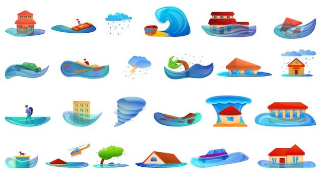 Hochwasserset. cartoon satz von flut Premium Vektoren