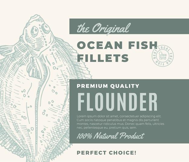 Hochwertige fischfilets. abstraktes fischverpackungsdesign oder -etikett. moderne typografie und handgezeichnete flunder plattfisch silhouette hintergrund layout Premium Vektoren