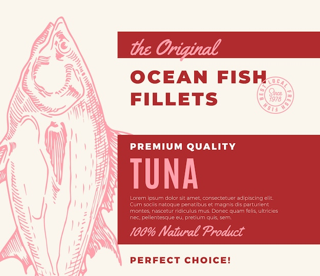 Hochwertige fischfilets. abstraktes fischverpackungsdesign oder -etikett. moderne typografie und handgezeichnete thunfisch-silhouette-hintergrundlayout Premium Vektoren
