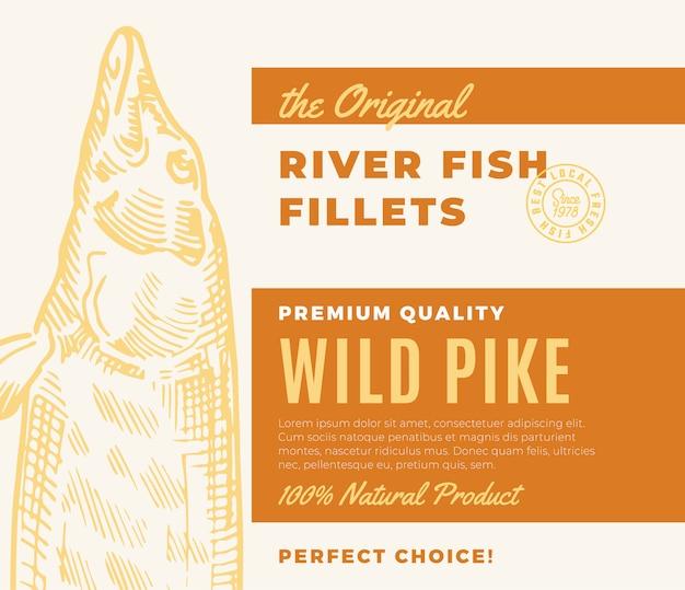 Hochwertige fischfilets. abstraktes fischverpackungsdesign oder -etikett. moderne typografie und handgezeichnetes hecht-silhouette-hintergrundlayout Premium Vektoren