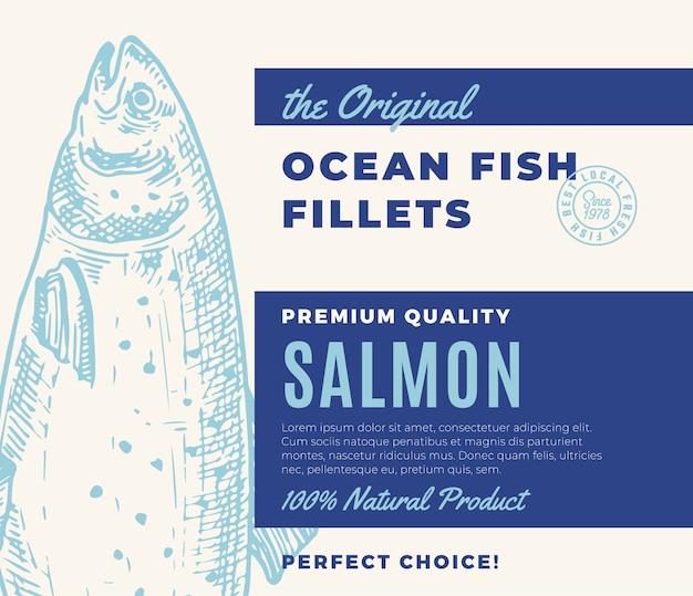 Hochwertige fischfilets. abstraktes fischverpackungsdesign oder -etikett. moderne typografie und handgezeichnetes lachs-silhouette-hintergrundlayout Premium Vektoren