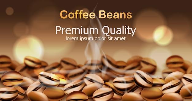 Hochwertige kaffeebohnen mit rauch von ihnen. funkelnde kreise im hintergrund. platz für text. Kostenlosen Vektoren