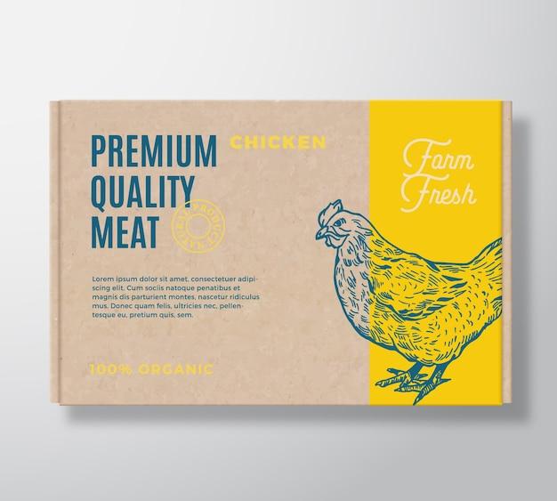 Hochwertiges geflügelfleisch-verpackungsetikett auf einem bastelkartonbehälter. Kostenlosen Vektoren