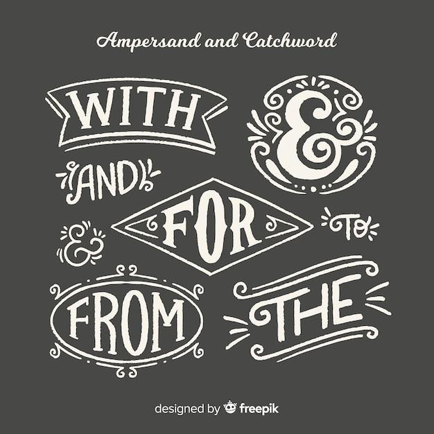 Hochzeit-ampersands und schriftzug Kostenlosen Vektoren