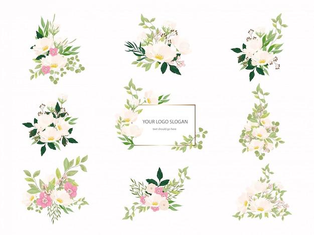 Hochzeit blumenstrauß sammlung Premium Vektoren