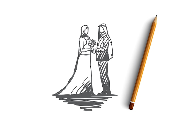 Hochzeit, bräutigam, braut, paar, muslimisches konzept. hand gezeichnete muslimische hochzeit, bräutigam und brautkonzeptskizze. Premium Vektoren