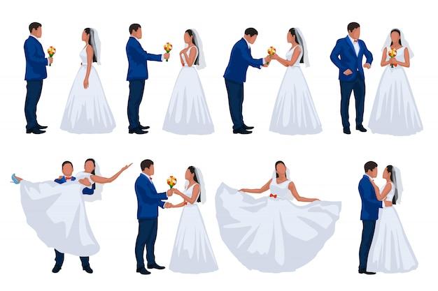 Hochzeit bräutigam und braut set Premium Vektoren